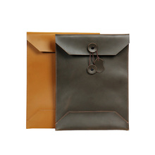 Folder for Papers Cow Nature Leather Folder for Documents Document Case Leather A4 Paper Envelope File Bag Office Supplies fashion portable expanding file folder a4 paper folder for documents quality office document briefcase