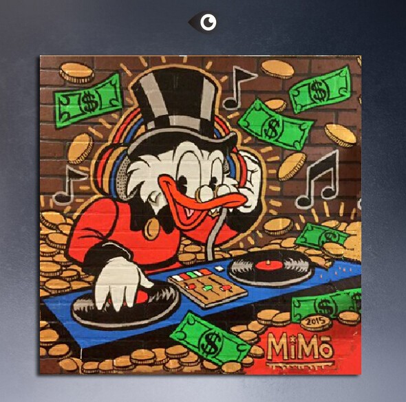mike mozart uncle scrooge mcduck street art painted on canvas for