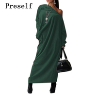 New Sexy Women Fashion Off Shoulder Oversize Party Casual Long Dress Winter Plus
