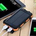 Banco de la Energía Solar A Prueba de agua portátil 10000 mAh Cargador Solar Dual Puertos USB powerbank Batería externa con LED Para Smartphones