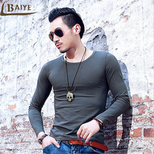 TBAIYE Men Casual solid O Neck Men T shirt Long Sleeve brand 2017 Autumn winter fitness