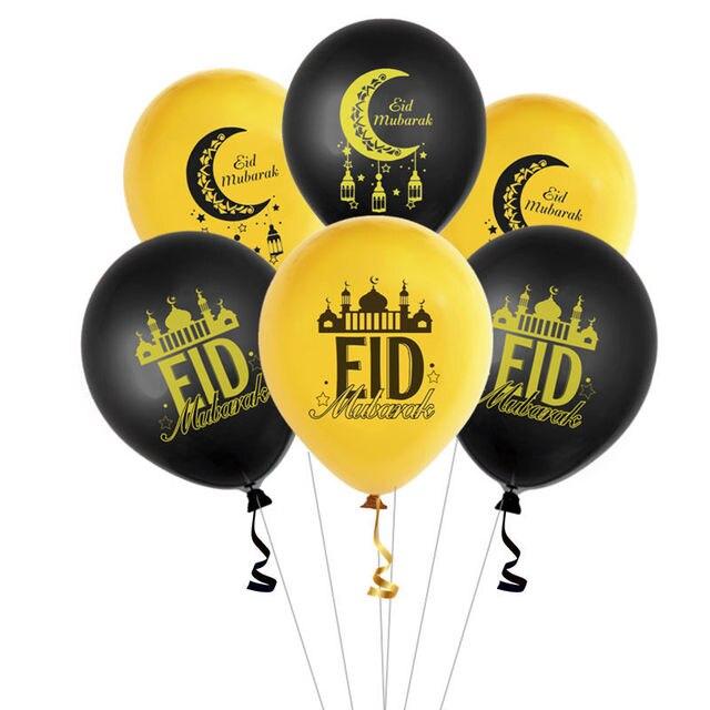 Ballons de décoration en Latex pour Eid Mubarak, 12 pièces/lot, ballon de décoration pour Eid ul Fitr Globos pour Ramadan Kareem