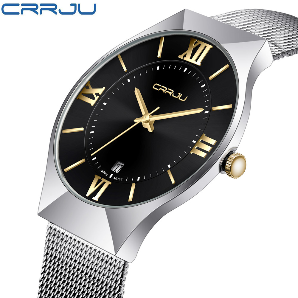 CRRJU New Top Luxury Watch Men Brand Men's Watches Ultra Thin Stainless Steel Mesh Band Quartz Wristwatch Fashion casual watches  bosck top luxury watch men brand men s watches ultra thin stainless steel band quartz wristwatch fashion casual leather watches