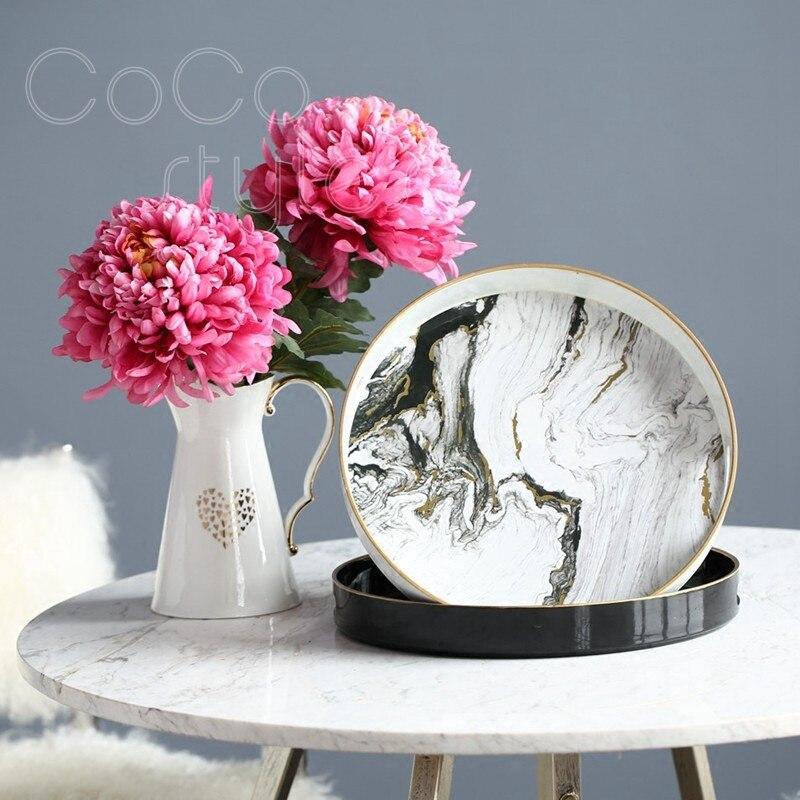 Cocostyles InsFashion normcore plateau rond en bois blanc et noir motif marbre pour la mode et le style moderne décor à la maison plateau à thé