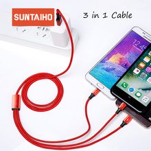 Suntaiho 3in1 Usb C Cable for Xiaomi PLAY redmi note 7 Samsung S9 Micro USB Cable for iPhone XR XS max Fast Charging 3A Charger