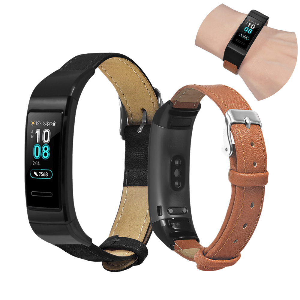 Tüketici Elektroniği'ten Akıllı Aksesuarlar'de Için hakiki Deri Bileklik Huawei Band 3 Pro Kayış Bilezik saat kayışı Yüksek Kaliteli Buzağı bileklikler Yedek Aksesuarlar