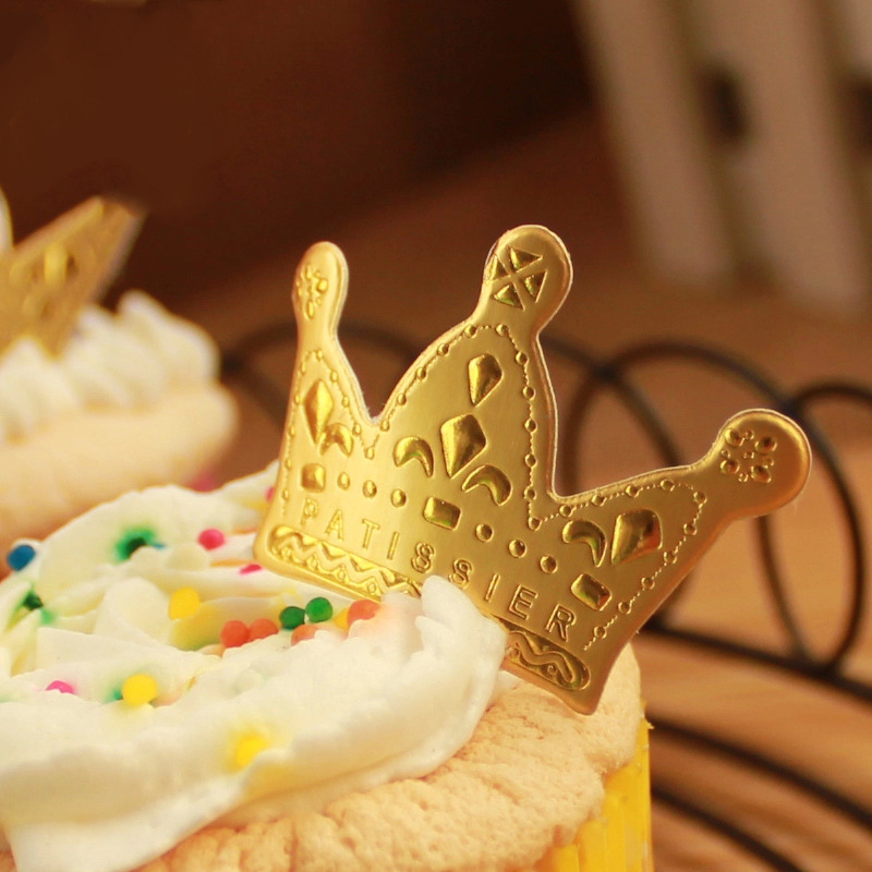 50PCS Golden Crown Cupcake Cake Toppers Stick For Wedding Decor Baby ...