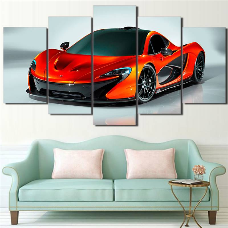 Home Decor Living Room Modern Hd Printed Canvas Poster 5 Pieces Mural Art Picture Sports Car -105227-JBO
