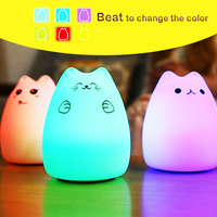7 Colors Cat LED USB Children Animal Night Light Silicone Soft Cartoon Baby Nursery Lamp Breathing