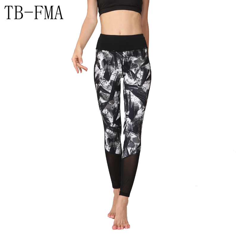 Floral Print pants women sportswear Compression Yoga Pants Wide Waistband Quick Dry Workout Yoga Leggings Fitness Yoga Pants