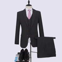 NA66 Dark Gray Herribonege Customized Mens Suit Made to Measure 3 pieces Business Sets Wedding Suit Blazers Party Suits