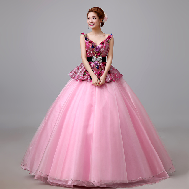 6c4e70d1326 2017 New Arrival Graceful V-neck Colorful Stero Flowers and Belt Decorated  Ball Gown Quinceanera Dress 477
