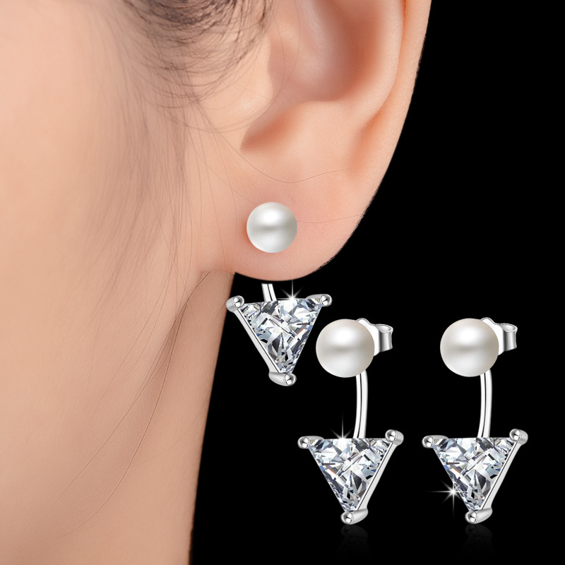Everoyal New Fashion Crystal Triangle Pearl Stud Earrings For Women Jewelry Charm 925 Sterling Silver Girls Accessories