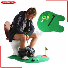 Funny Toilet Bathroom Mini Golf Mat Set Potty Putter Putting Game Men's Toy Novelty Gift