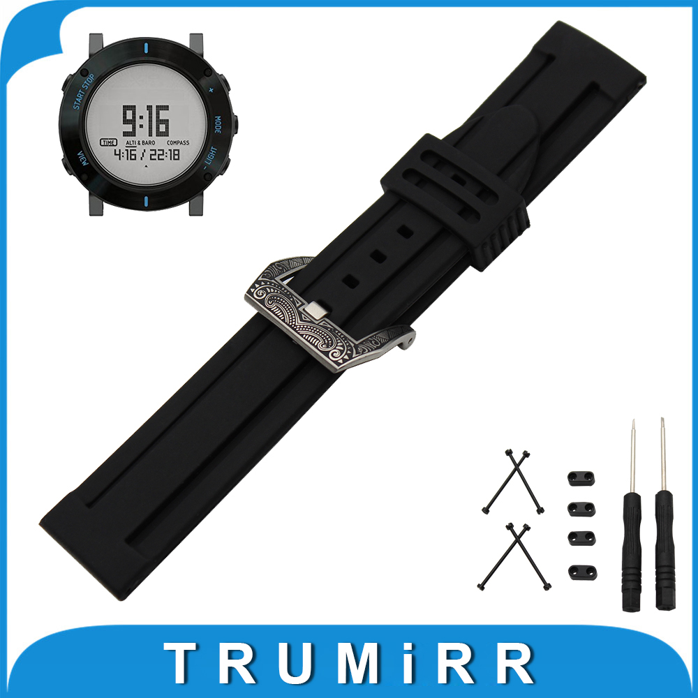 24mm Silicone Rubber Watch Band + Lug Adapter + Tool for Suunto Core Stainless Carved Pre-v Buckle Strap Wrist Belt Bracelet silicone rubber watch band 24mm for suunto core stainless pin buckle strap wrist belt bracelet black white lug adapter tool