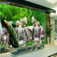 beibehang Custom nonwovens wallpaper bamboo forest rockery peacock fresh living room sofa TV wall decoration