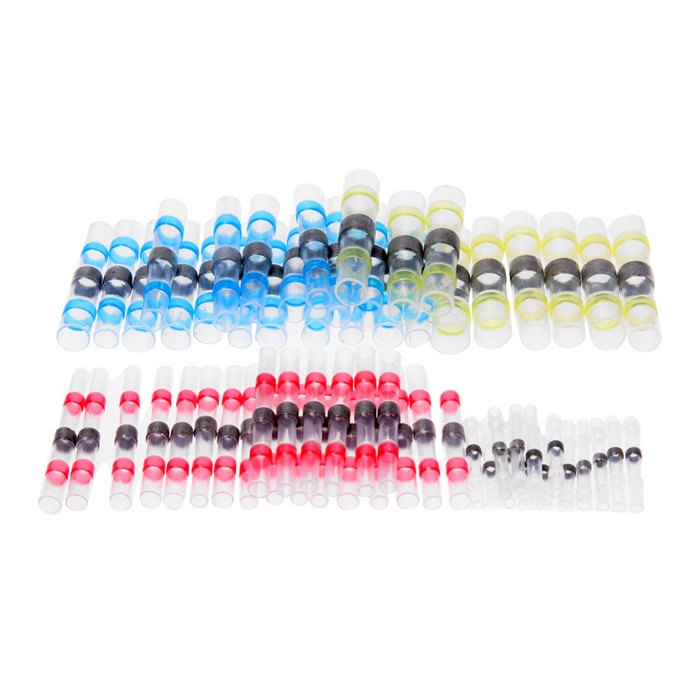 Waterproof 100pcs Solder Heat Shrink Tube Solder Sleeve Tubing Wires Connectors Cable Splice Line to Line Connector