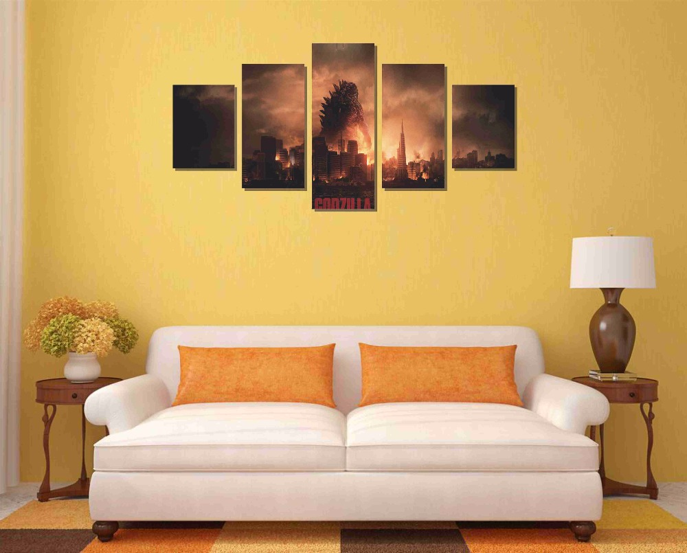 Free shipping 5 Pieces(No Frame) GODZILLA Movie Home Decor Prints ...