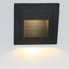 10 قطعة 3 واط led درج ضوء مع مربع جزءا لا يتجزأ من الألومنيوم خطوة أضواء في الهواء الطلق مقاوم للماء IP65 LED الجدار مصباح مصباح القدم PRO 04