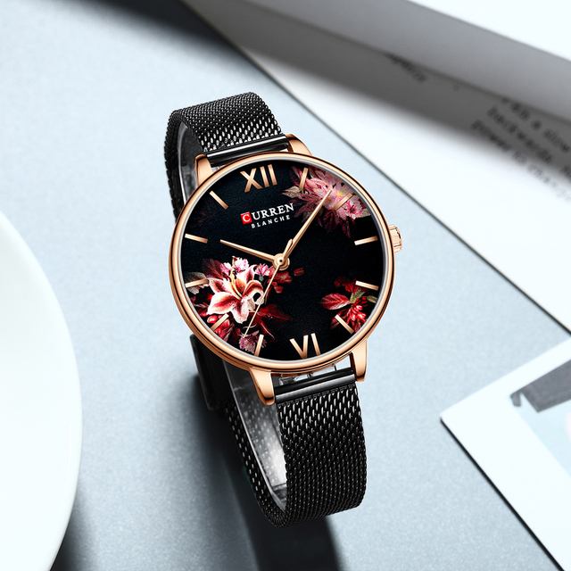 Women's Stainless Steel Mesh Watch With Floral Dial