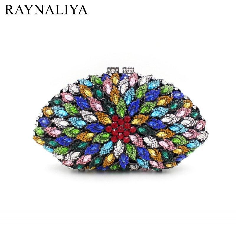 Women Luxury Crystal Colorfull Evening Bags Fashion Bridal Wedding Clutch Ladies Designer Small Hand Bag Woman Purse SMYZH-E0303
