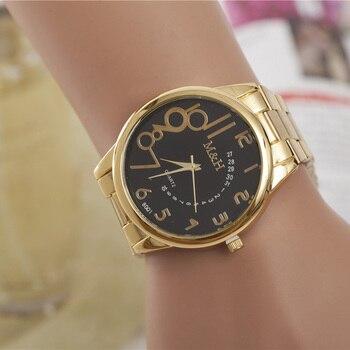 Hot Selling Fashion Wristwatch Alloy Steel Gold Watch Men Personality Digital Quartz Watch Women Casual Watches bayan kol saati