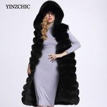 Grueso de invierno de mujer de abrigo de piel con capucha moda mujer sin mangas Chaleco de piel de las mujeres piel Artificial largo recto abrigos Casuales