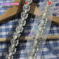 1 Yard 2CM Silver Sequins Beads Drill Clothing Accessories Collar Flower DIY Handmade Beading Braid Lace