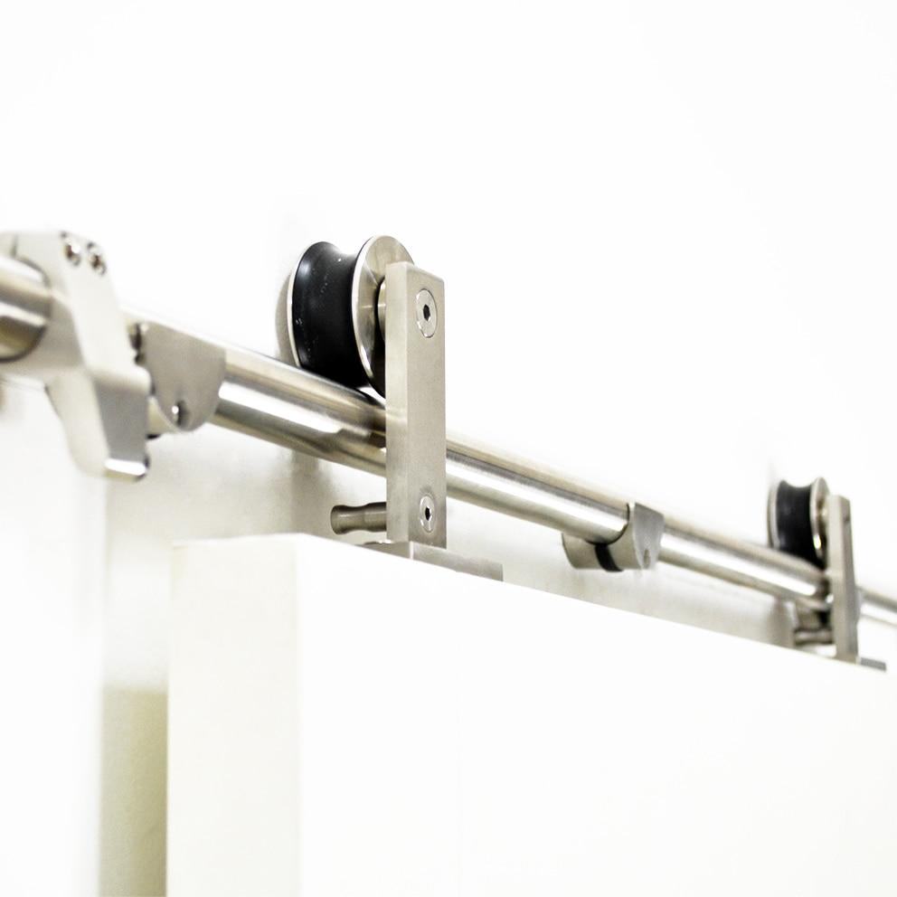DIYHD 5FT-13FT Stainless Steel Top Mount Sliding Barn Door Track Easy Mount Barn Closet Wood Hardware Kit  цена