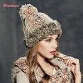 Kenmont зима теплая девушки женщин леди реального натуральный мех кролика ручной вязать шапочки Hat лыж Cap 1630