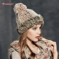 Kenmont Winter Warm Women Girl Lady Real Natural Rabbit Fur Hand Knit Beanie Hat Ski Cap 1630