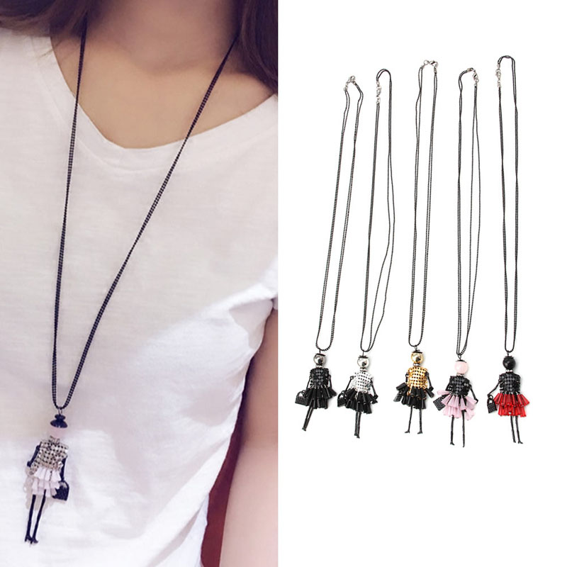 Retro Jewelry Rhinestone Doll Pendant Long Chain Sweater Necklace Fashion Gift Women Girl Jewelry Statement #Y51#