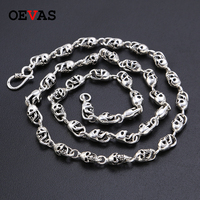Retro Thai silver men's Gothic Punk rock style skull silver chain necklaces 7mm Soild 925 Sterling silver Hip hop Chains for men