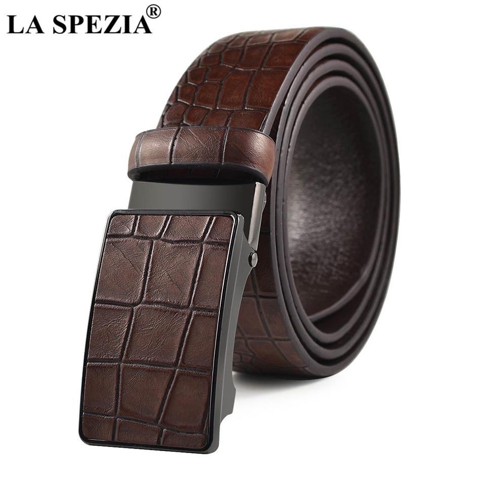 Apparel Accessories La Spezia Cowhide Leather Belt For Men Automatic Buckle Belt Male Black Formal Business Solid Vintage High Quality Brand Belts Fast Color