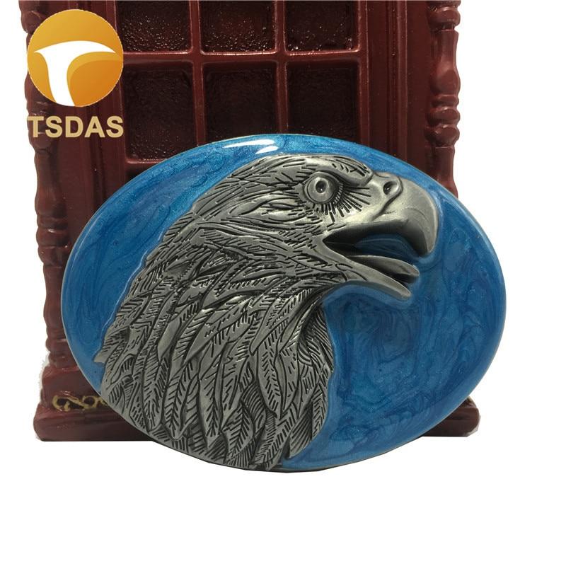 Lujo Eagle hebilla de cinturón 8,0*6,2 cm Oval azul plata Metal para 1.57in ancho cinturón hombres mujeres Jeans Accesorios
