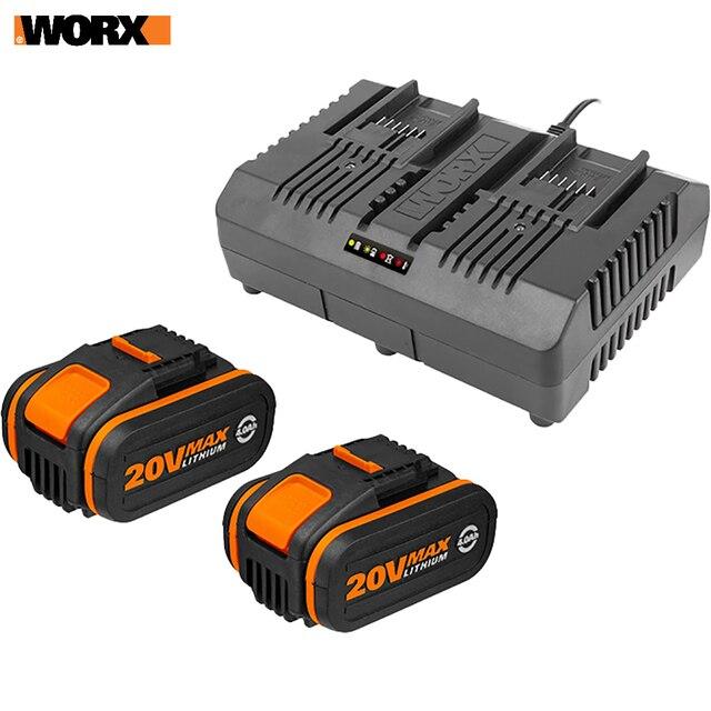 Комплект: Двойное Зарядное устройство WORX WA3883 + 2 Акб 4.0 А/ч