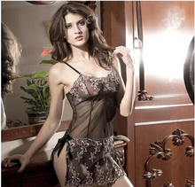 New 2016 black Perspective mesh womens slips ladies sexy lingerie pyjama plus size M-XXXL