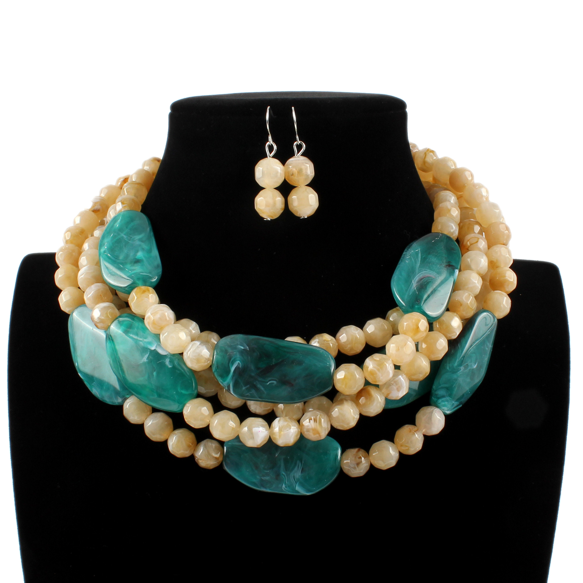2019 New Women Bohemian Jewelry Set Boho Multi Layer Resin Strand Collier African Beads Necklace Earrings Afrikaanse Ketting2019 New Women Bohemian Jewelry Set Boho Multi Layer Resin Strand Collier African Beads Necklace Earrings Afrikaanse Ketting