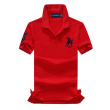 цены Eu SIZE On sale 2019 summer 100% mesh import pique cotton big horse men 3 embroidery logo polo shirts fashion brand polo shirts