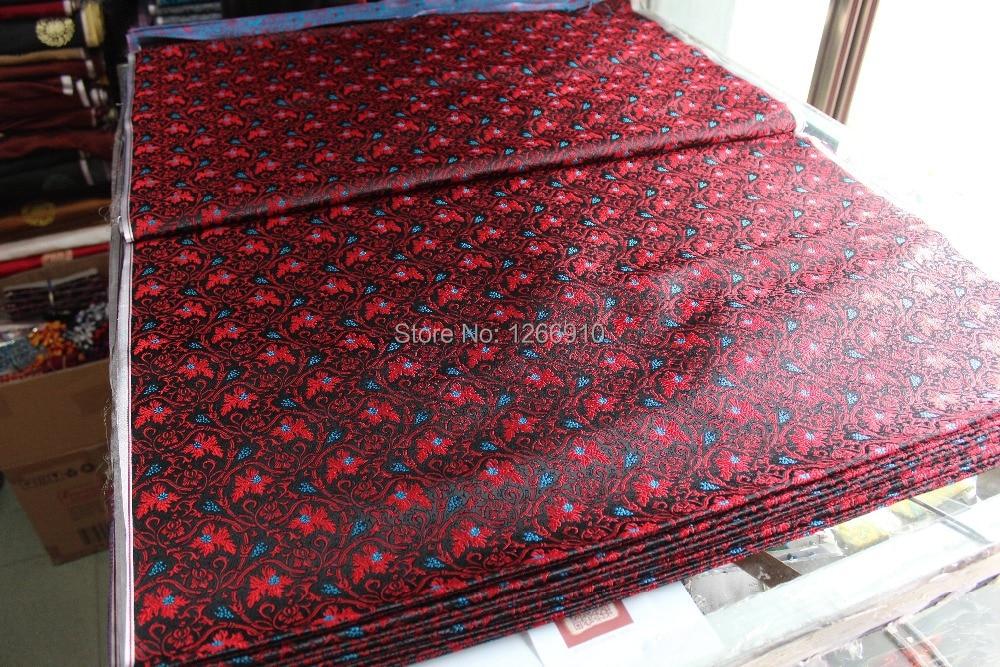 26e14df6e chinese silk brocade woven damask fabric cheongsam cushion black back red  leaf blue small Grapes