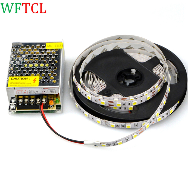 WFTCL Tiras LED NEW 2A lighting Transformersel conductor del LED Power supply with 5050 SMD IP20 12V 5M 60LED/m LED Strip lights