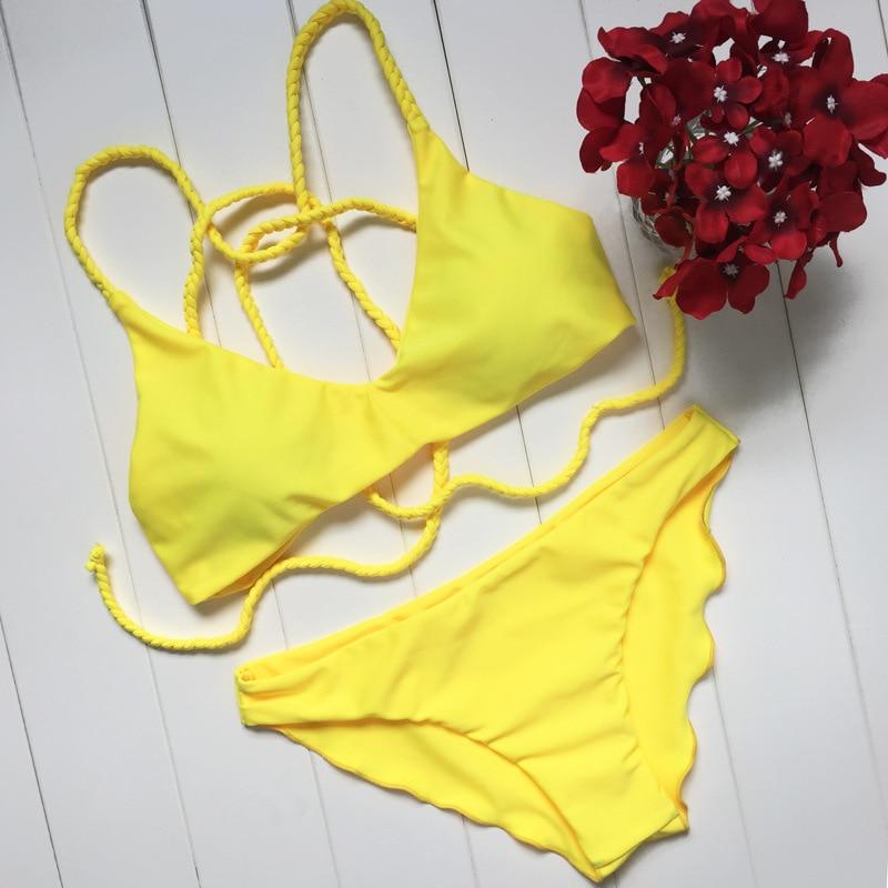 Yellow Bikini Set 2017 Summer Thong Biquini Women Sexy Beachwear Swimsuit Bathing Suit -1478