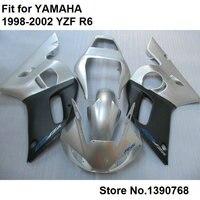 ABS plastic fairings for Yamaha YZF R6 98 99 00 01 02 silver black fairing kit YZFR6 1998 1999 2000 2001 2002 LV51