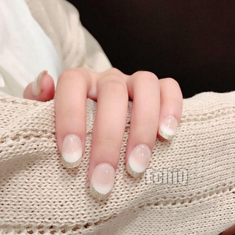 Beautiful Beige White Gradient Fake French Nails Short Round Glitter ...