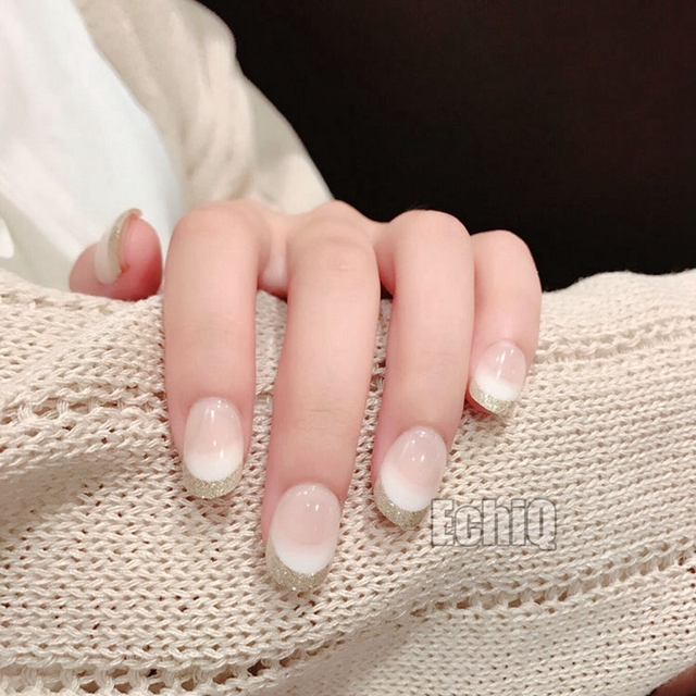 Beautiful Beige White Grant Fake French Nails Short Round Glitter Tips Acrylic Full Wrap For