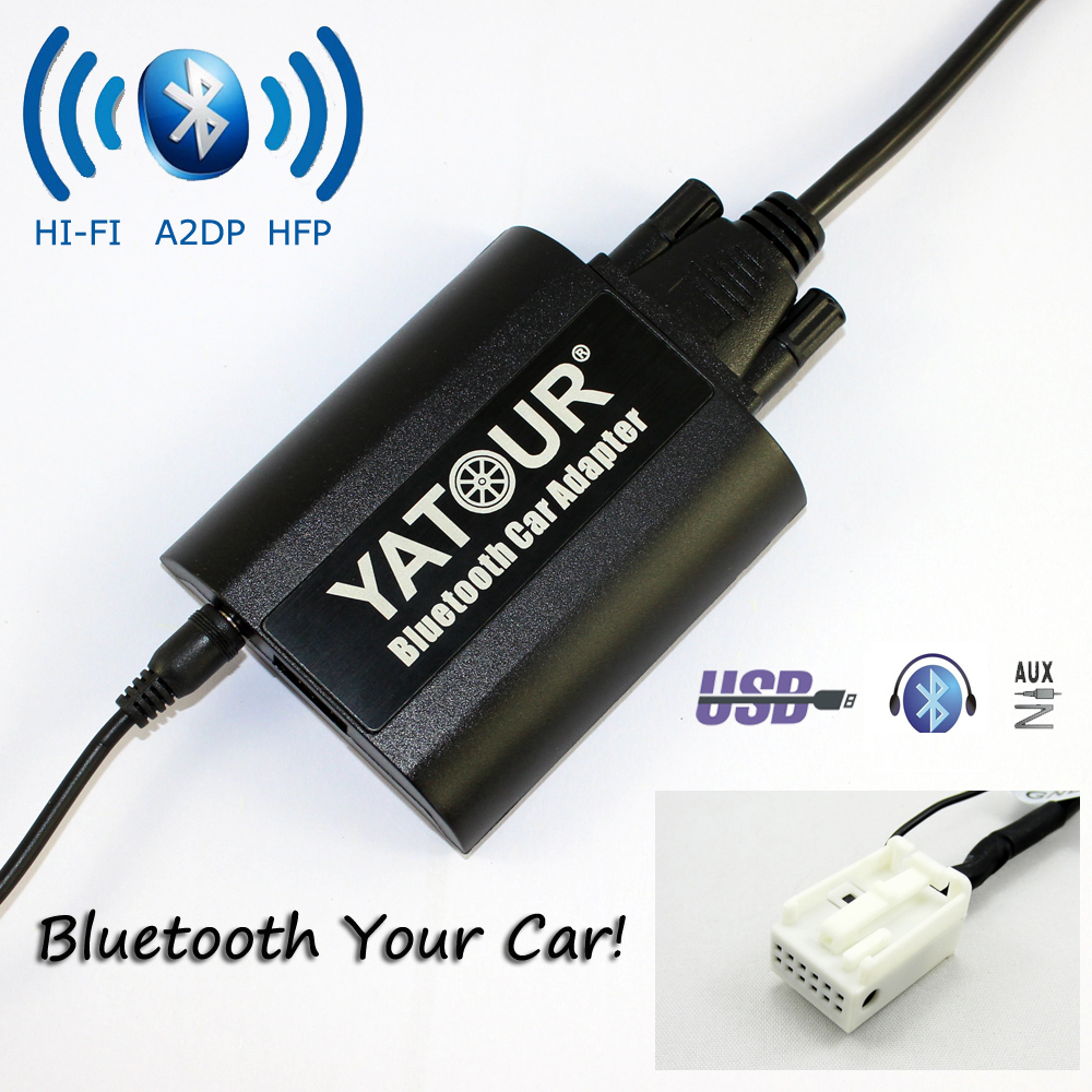 Yatour Bluetooth Car Adapter For 12pin Audi A3 A4 S4 R8 TT 2007-2010 YT-BTA AUX IN HI-FI A2DP USB charging port car usb sd aux adapter digital music changer mp3 converter for volkswagen beetle 2009 2011 fits select oem radios