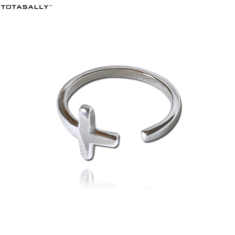TOTASALLY New Arrival Cross Finger Rings Hot Popular Simple Hundred-lap Youth Ring Jewelry For Women Cocktail S925 Silver