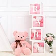 Alphabet Name Transparent Packing Box Birthday Balloon Box Wedding 1st Birthday Party Decor Kids Latex Balloon Baby shower Girl