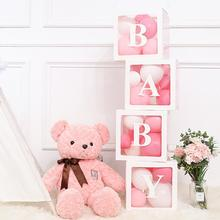 QIFU caja embalaje transparente del alfabeto boda globo caja boda 1er cumpleaños fiesta decoración niños globo de látex color macarrón Babyshower