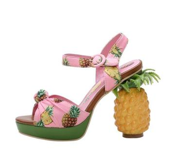 BONJEAN Fashion Strange Heels Woman Sandals Summer Sexy Peep Toe Pineapple Printed Ankle Strap Gladiator Shoes Party Dress Heels